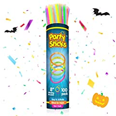 MULTICOLOR GLOW STICKS PARTY PACK: Enjoy 100 pieces of super bright light sticks plus 100 pieces of dependable connectors that stay put for hours LONGER LASTING GLOW PARTY SUPPLIES: Party all night long! These 8-inch long glow in the dark sticks glow...
