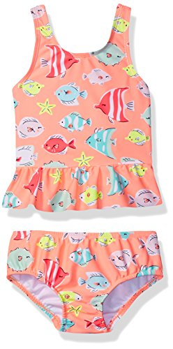 Carter's Baby Girls' Fish Tankini Swimsuit Set, Coral, 24 Months