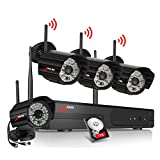 ANRAN 4CH WLAN überwachungskamera System Set, 960P Wireless Videoüberwachungskamera mit 1TB Festplatte,CCTV Funk