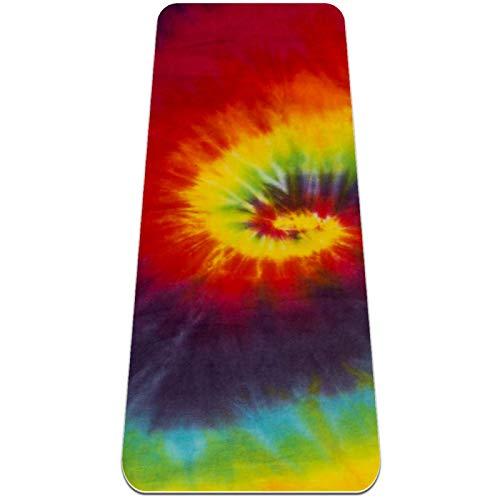 Josidd Esterilla de yoga de colores teñidos hippie Fitness Mat TPE respetuosa con el medio ambiente, antideslizante, para yoga, pilates y gimnasia, 8 mm de grosor