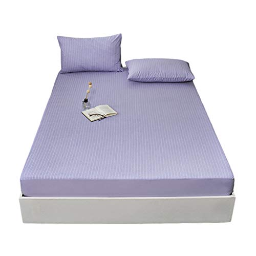 Full Fitted Sheet Cotton Waterproof Matressprotector Machine Washable Noiseless Protection Cover-Hypoallergenic Safe Fitted Bed (Color : Purple, Size : 120x200x28cm)