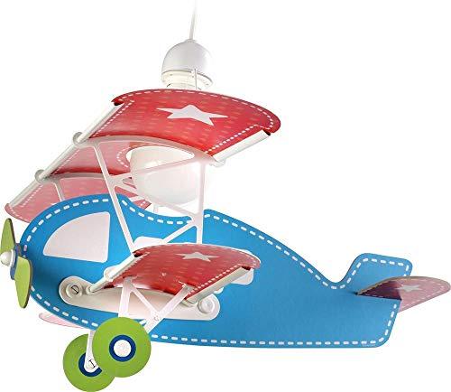 Dalber Baby Lámpara Infantil de Techo Plane Avión, 60 W, Azul, 49 x 64 x 39 cm