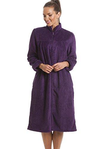 Camille Suave Vellón Púrpura Cremallera Frente A La Casa Abrigo 46-48