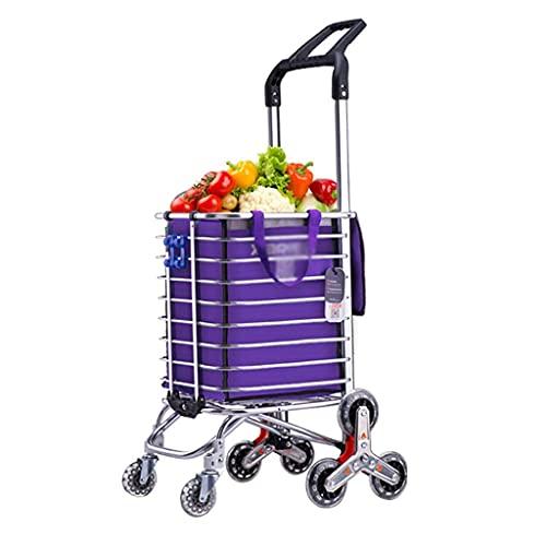 LLSS Einkaufswagen Einkaufen Lebensmittel Einkaufswagen Zusammenklappen Tragbarer Einkaufswagen Startseite Supermarkt Aluminium Einkaufswagen Tragbare Gebrauchswagen