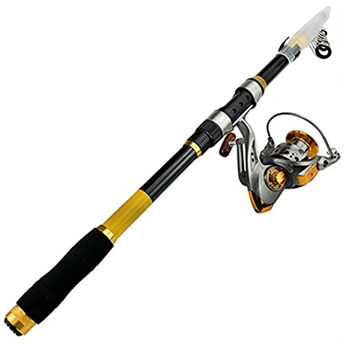 MCYAW Barra de Pesca telescópica y Carrete de Pesca Combo Pole de Pesca de mar 2.1-3.6M Kit de Carrete de Giro (Color : Yellow Rod with Reel, Length : 2.4 m)