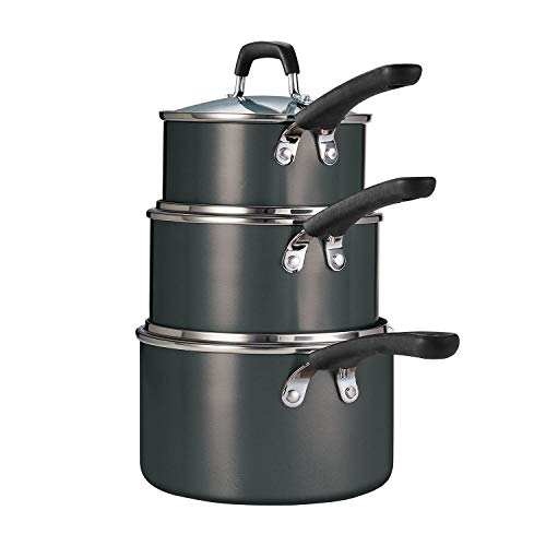 3-Piece Stackable Nonstick Sauce Pan Set-Grey, Pots and Pans Set, Cookware Sets Hard Anodized Nonstick Cookware Set With Black Handles Stainless Steel