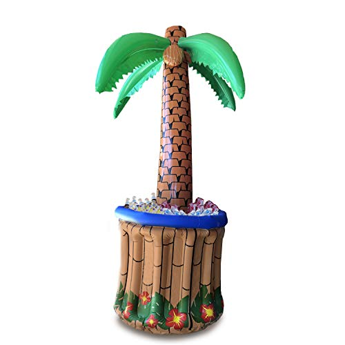 GIFTEXPRESS 72' Inflatable Palm Tree Cooler, Tropical Hawaiian Theme Party Decor, Perfect for Pool Party Summer BBQ Party and Luau Tiki Party, 6 Feet Inflatable Bar Cooler for Tropical Party Decorations