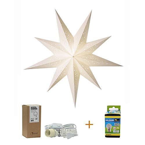 Papierstern weiß mit Zubehör, Stern Bianco, Papierstern beleuchtet Faltstern, Kabel weiß, Weihnachtsstern Deko Lampe, Fensterdeko Wohndeko, Faltstern Geschenkidee (Bianco M)