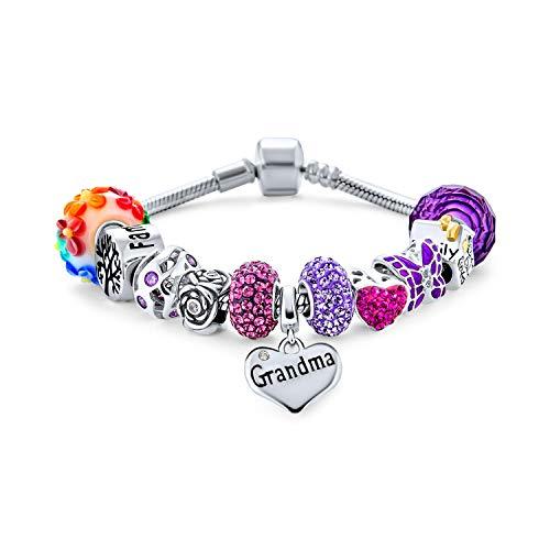 Love Grandma Family Themed Starter Beads Multi Charm Bracelet For Grand Mother Women .925 Sterling Silver Snake Chain European Barrel Snap Clasp Bracelets 7 Inch