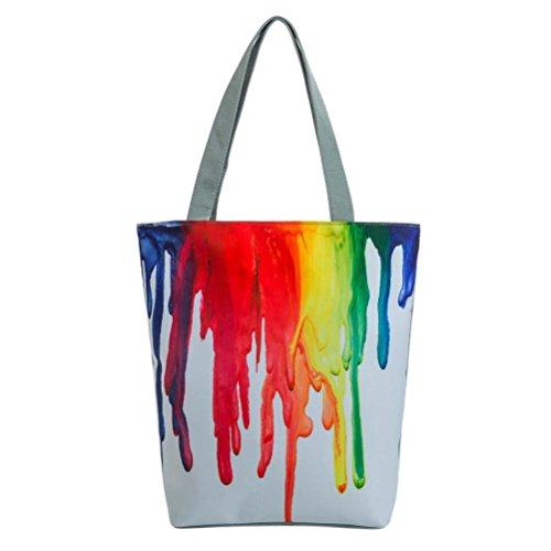 manadlian Bunt Reisetasche, Strandtasche Damen Handtasche National Wind Segeltuch Tote Beiläufige Strandtaschen Frauen Einkaufstasche Handtaschen (Weiß)