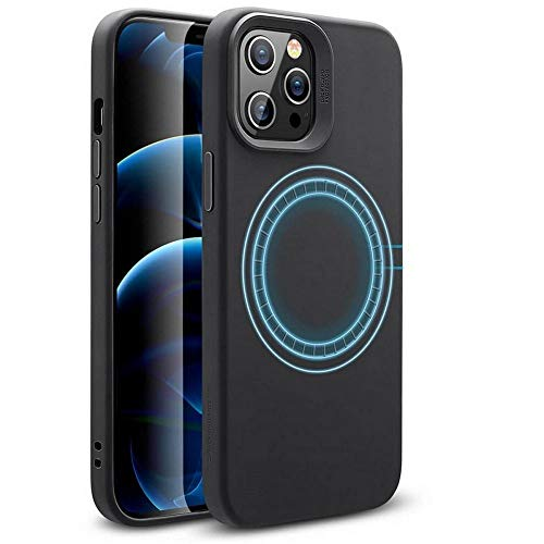 ESR Soft Case Compatible with iPhone 12/iPhone 12 Pro [HaloLock Magnetic Wireless Charging] [Silicone Rubber Case] Cloud Series - Black