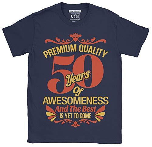 6TN Hombre 50 años de Asombroso y lo Mejor está por Llegar 50 cumpleaños Camiseta (XL, Azul Marino)