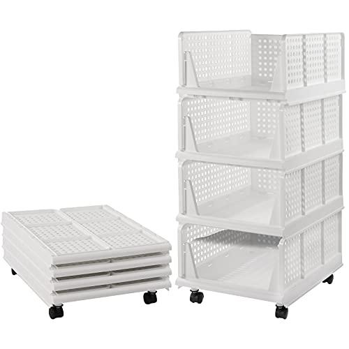 Juego de 4 organizadores apilables para armario con ruedas (fácil de abrir y plegar, plástico), color blanco