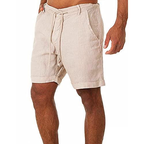 Herren Leinenhose Kurze Hose Leinen-Shorts lässige Männer Freizeithose Strandhose Stoffhose Sommer-Shorts Loungewear-Shorts (M,Beige)