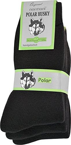 Polar Husky® 3 Paar Sehr warme Socken mit Vollplüsch und Schafwolle/Nie Wieder kalte Füße! Farbe Vollfrottee/Schwarz Größe 39/42