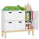 HOMECHO Cómoda Infantil con 6 Puertas para Almacenamiento Armario de Dormitorio para Juquete Ropa Libros Mueble para Chinos de Madera Blanca 100 x 30 x 80 cm