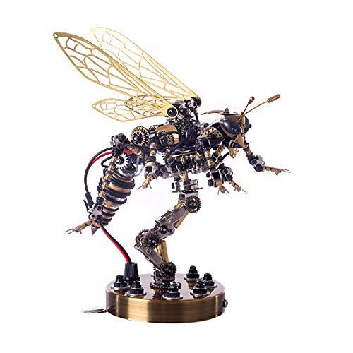 WEERUN 3D Metall Puzzle Modell Wespe Puzzle Set mit Sound Control Licht, DIY 3D Metall Bausatz Erwachsene Kinder Technik Spielzeug Baukasten - Mechanische Wespe