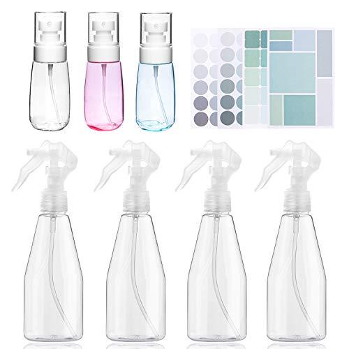 Bottiglia Spray in Plastica,Icnow 4PZ Spruzzino Plastica,Flacone Spray Nebulizzatore per Capelli,Piante,Animali,Domestici Pulizia,Parrucchieri...