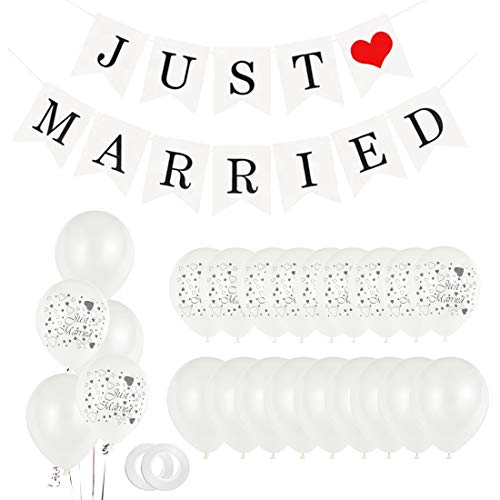 Just Married Party Decoration, 30 Ballons Blancs, 11 Ballons Juste Mariés,Banderole Mariage Décoration Guirlande, Ballons Mariage Ballons baudruche Décoration pour Mariage