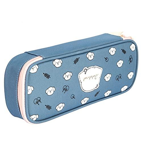 Estuche pequeño para estudiantes, sencillo estuche con inserto de bolígrafo, puede poner regla de 20 cm, caja de papelería azul