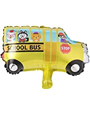 Car Balloons School Bus Fire Truck Train Ambulance Police Foil Balloons Vehicles Balloons for Birthday Party Supplies (Mini School Bus)