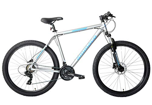 Ammaco. Osprey V2 27.5' 650B Wheel Hardtail Mens Front Suspension Mountain Bike Hydraulic Disc Brakes 21 Speed Alloy 21' Frame Silver Blue