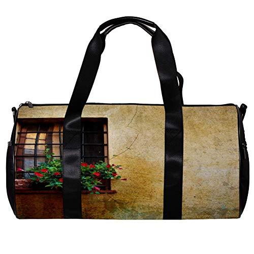 TIZORAX Seesack für Damen und Herren, Vintage-Stil, Fenster bei Pienza City, Mauer, Italien, Sport, Fitnessstudio, Reisetasche, Outdoor, Gepäck, Handtasche