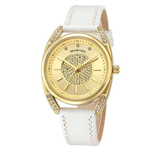KinshopS Reloj Elegante de Pulsera de Cuero Genuino para Mujer, Reloj de Cuarzo japonés, para la colección Taylor Cole
