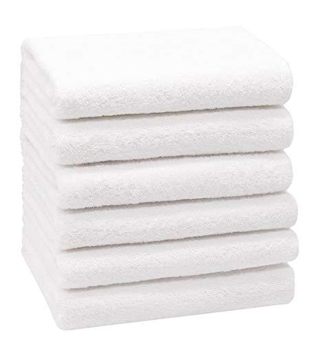 DESING:Juego de 6 Toallas de Mano, Blanco, algodón 21,50 (50X100 CM)