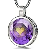 925 Sterling Silver I Love You Necklace Romantic Pendant 24k Gold Inscribed in 120 Languages Including Sign Language on Brilliant Round Cut Light Purple Cubic Zirconia Gemstone, 18' Chain