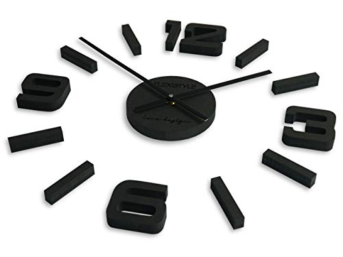 Flexistyle wandklok, zwart (zoals antraciet), 50-75cm (DICKE 19MM)