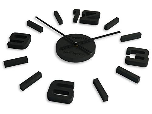 FLEXISTYLE Made IN EU DIY 3D Wanduhren DIY große Wanduhr 50-75CM (Dicke 19MM!) 3D Wanduhr Modern Design EKO Wanduhren Wandtattoo Dekoration Uhren für Büro Wohnzimmer Schlafzimmer Dekoartikel Quarzuhr