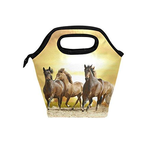Coosun Lunch-Tasche mit Pferdemotiv, isolierte Thermo-Kühltasche, wasserdicht, Neopren, Handtasche mit Reißverschluss für Outdoor, Reisen, Picknick
