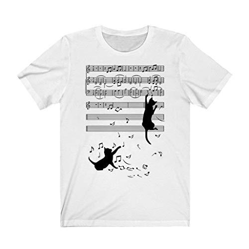 T-Shirt Frauen Cat Print O-Ausschnitt Kurzarm Casual Tee Tops (S,14Weiß)