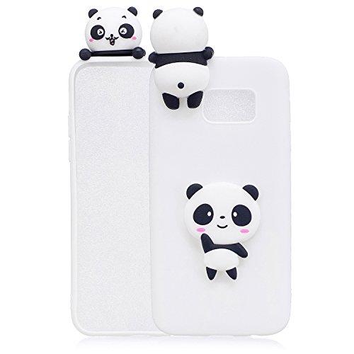 Handyhülle Für Samsung Galaxy S7 3D Panda Tiere-Silikon Hülle Schutzhülle - Süße Karikatur Tier Muster Ultra Dünn Slim Weiche Flexible Gummi Bumper Case für Kinder Jungs Mädchen,Weiße Teddybär