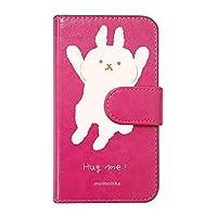 【moimoikka】 iPhone X/iPhone XS Apple 手帳型 スマホ ケース hug me うさぎ(大) アニマル 動物 キャラクター おしゃれ かわいい (カバー色ローズ) ダイアリータイプ 横開き カード収納 フリップ カバー スマートフォン モイモイッカ sslink