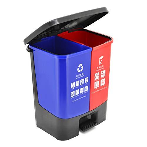 ffshop Cubo de Basura Doble Papelera de Reciclaje Compartimiento Doble Bote de Basura Oficina/Exterior Jardín de la Basura de plástico Puede, de 30 litros / 7.9 galones Cubo de la Basura