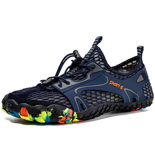 Calcetines, zapatos de red de agua de piel descalza, zapatos deportivos acuáticos de secado rápido, unisex, para natación, surf, yoga, playa, correr, navegación, buceo, buceo, color Azul, talla 39 EU