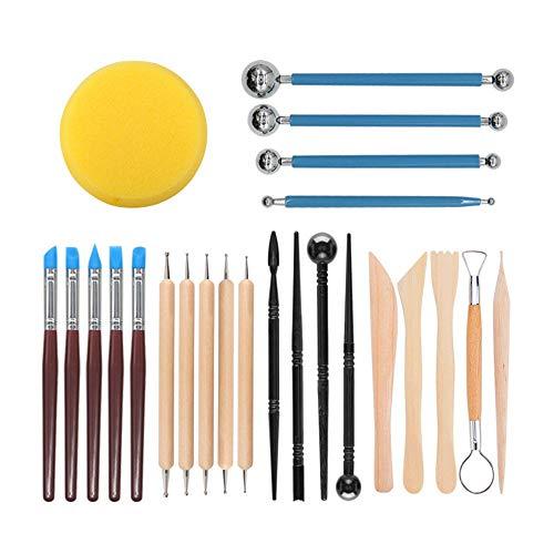 Polymer Clay Werkzeug,24 Stück Polymer Ton Werkzeug Modellierwerkzeuge Set Keramik Werkzeug Skulptur Kit für Anfänger,Profis und Künstler für Tonkeramik,Skulptur,Basteln