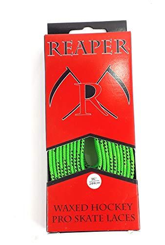 REAPER Schnürsenkel Eishockey gewachst, Schuhbänder Hockey 84-120 Zoll (neon grün, 96 Zoll (244cm))