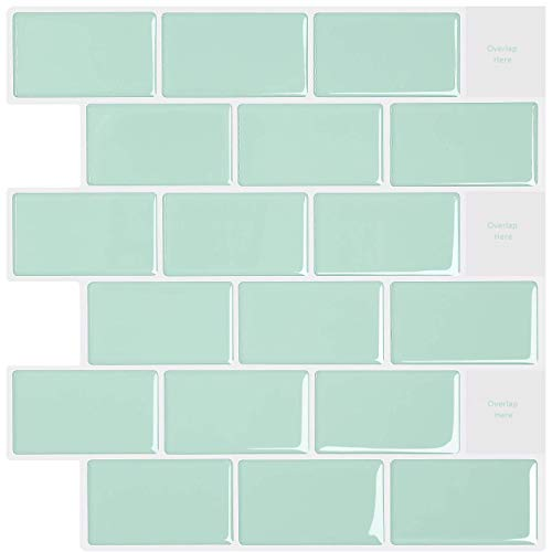 None Branded Peel and Stick Wall Tiles Backsplash,Light Green Self Adhesive Tile Stickers in Subway Design,Stick on Tiles Splashback for Kitchen 12' x 12' (6 Sheets)