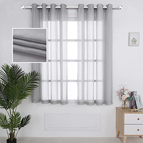 LORDTEX Linen Semi Sheer Curtains 2 Panels Grommet Drapes Privacy Sheer Panels with Light Filter Textured Draps for Bedroom/Living Room/Sliding Door,52 x 63 inch,Silver