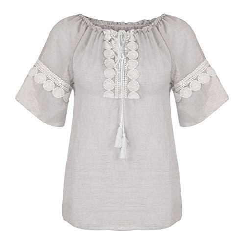 Bringbring Damen Bluse Einfarbig Spitze Rundhals Kurzarm Damenblusen Leinen Tunika Blusenshirt Oberteile Elegant Hemd Tops T-Shirt