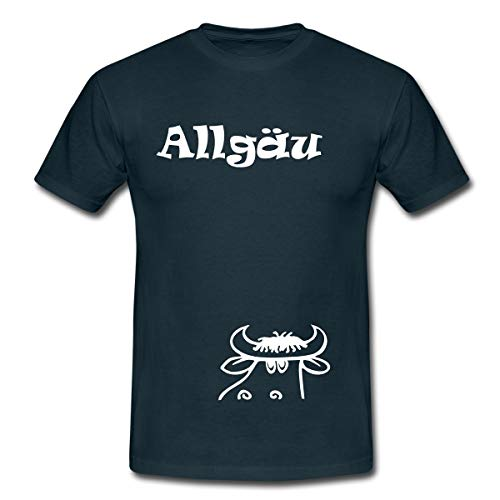 Kuh Braunvieh Allgäu Männer T-Shirt, S, Navy