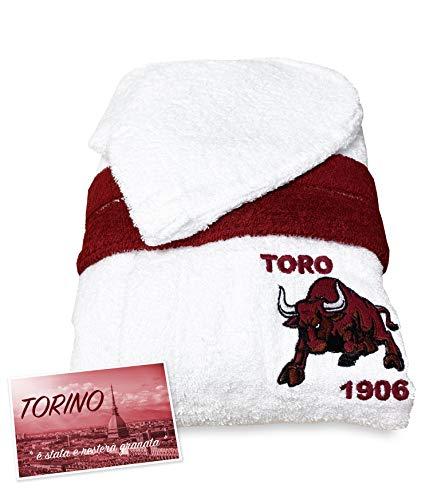 tex family Accappatoio Toro Torino Calcio Bimbo Bambino Ragazzo in Spugna di Puro Cotone Made in Italy - 8 Anni
