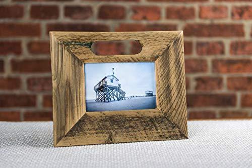 Bilderrahmen 10x15 cm aus Holz mit Griff oben von alter Obstkiste/Apfelkiste handgemacht. Geschenk für Hochzeit, Taufe, Kommunion, Geburtstag, Weihnachten, Konfirmation, Muttertag etc.