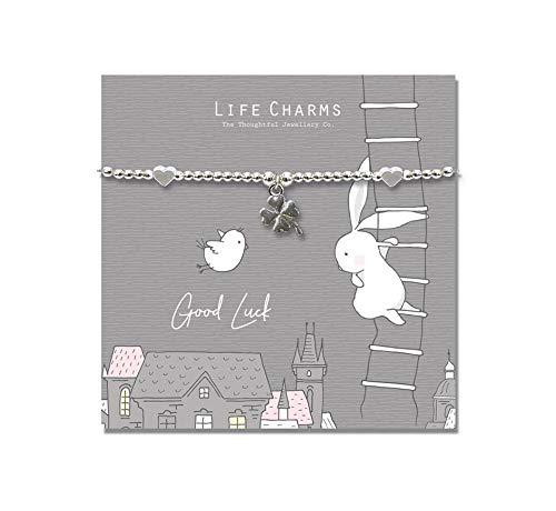 Rosey Rabbit - Pulsera bañada en plata de buena suerte, regalo hermoso para ella, joyería para mujer, dama, niña y mujer