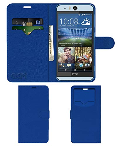 Acm Leather Window Flip Wallet Front & Back Case Compatible with HTC Desire Eye Mobile Cover Blue