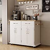 4 EVER WINNER Coffee Bar Cabinet, Framhouse Bar Cabinet Modern Storage Cabinet Rolling Sideboard Buffet Storage Cabinet Accent Cabinet Kitchen Island Cart for Living Room, Kitchen, Hallway(White)