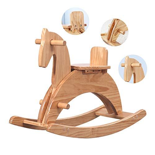 LYXCM Caballo balancín de madera para bebé, estilo vintage, color marrón para bebé hasta 1 año,...